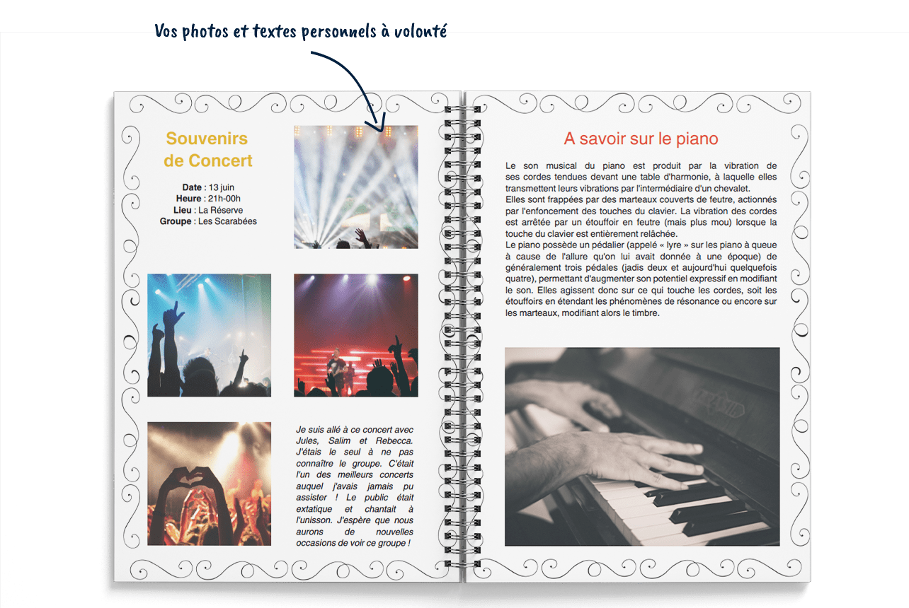 Cahier de musique personnalisé